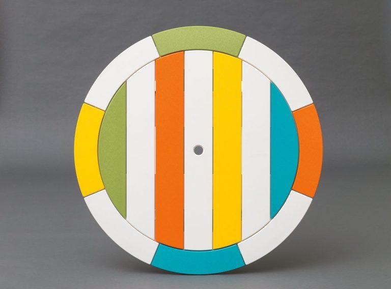 rainbow colored round custom polywood table