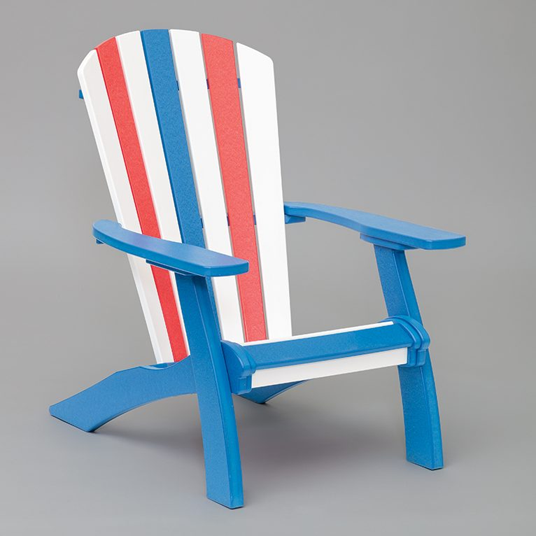 red white and blue adirondack chair with arms