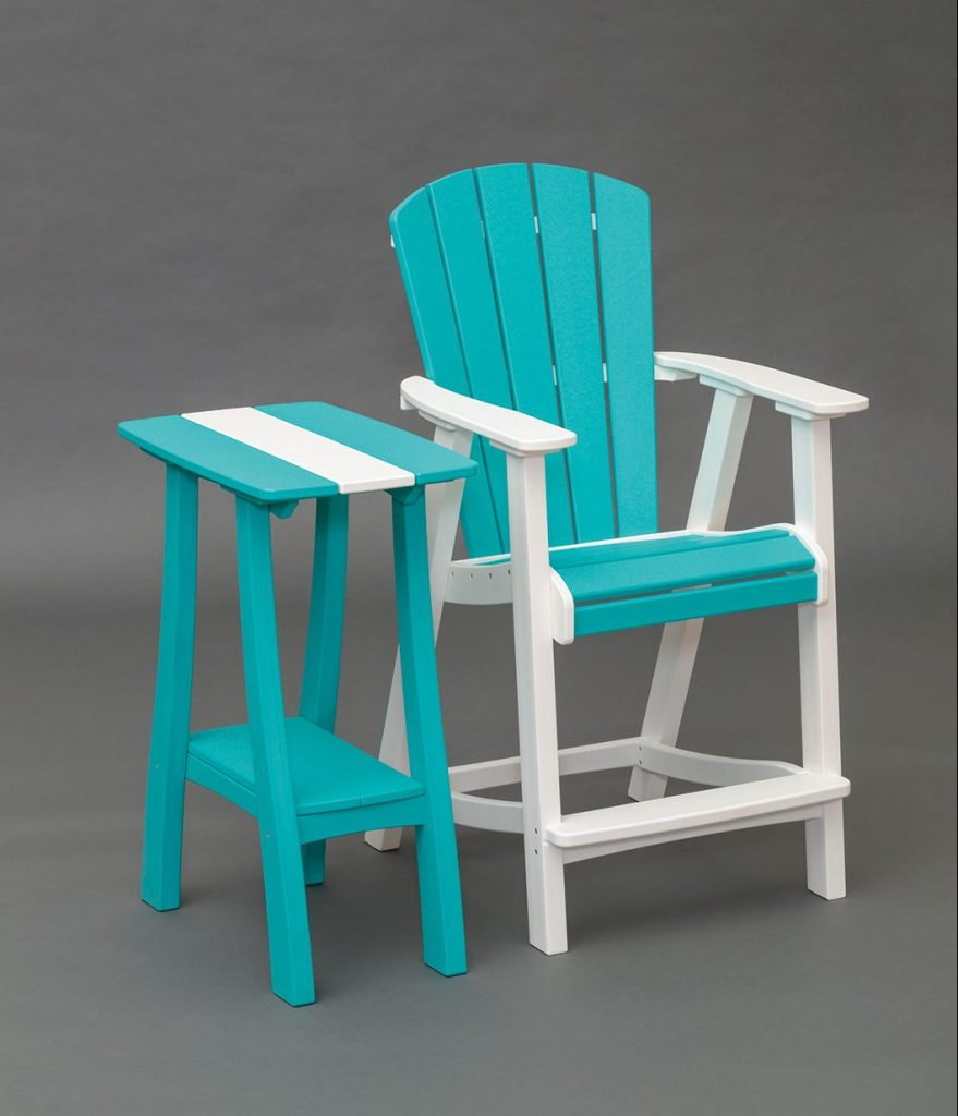 bright blue and white balcony chair and end table set