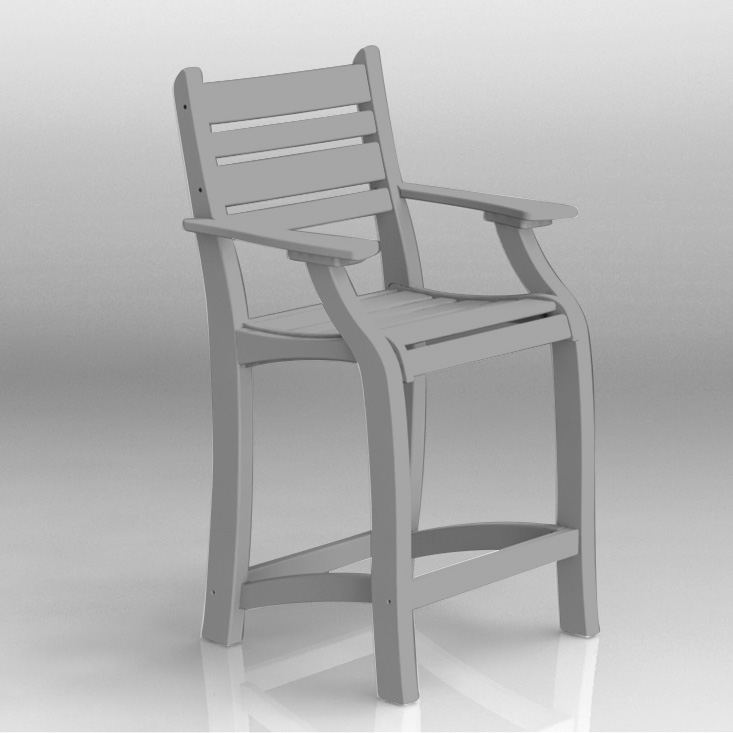 white 25 inch balcony chair with arms in polywood