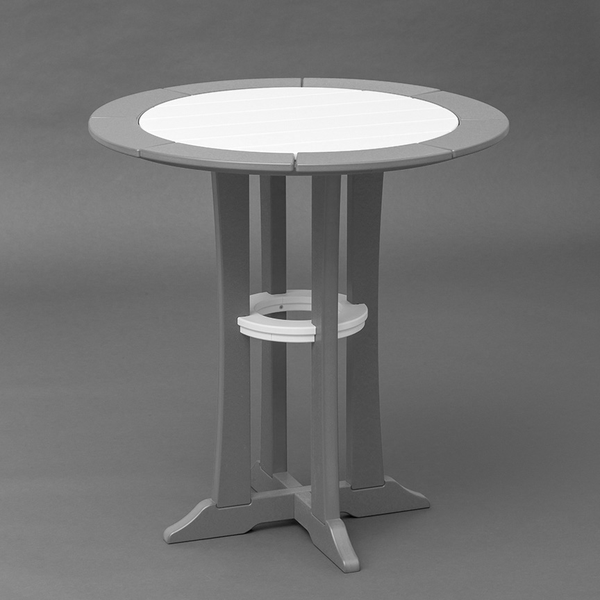 small outdoor round table in white and red