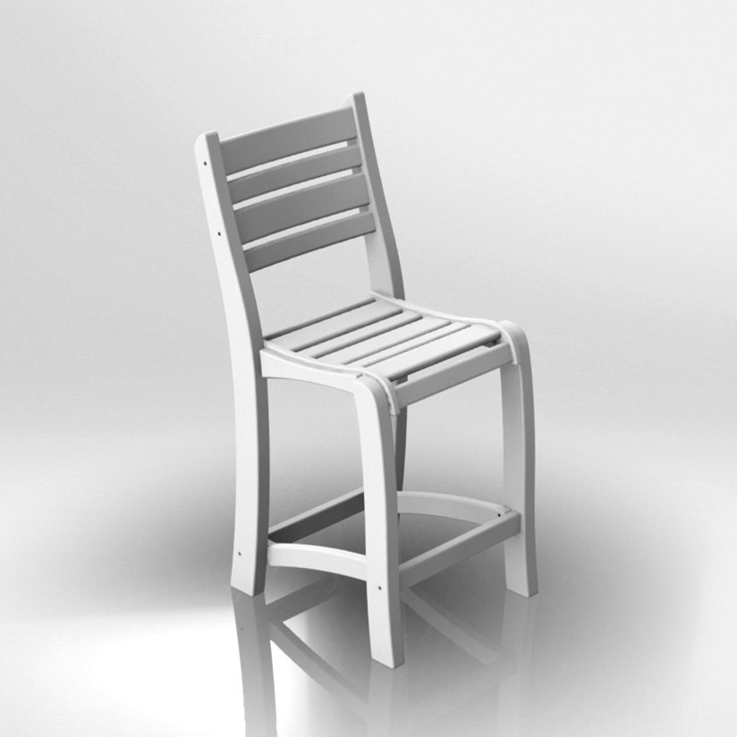 armless 25 inch white balcony chair
