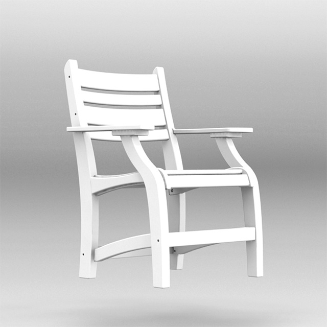 custom polywood white dining outdoor chair with arms